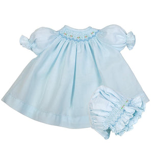 Blue Smocked Doll Bishop and Bonnet AYR 1908 DD/DB BL
