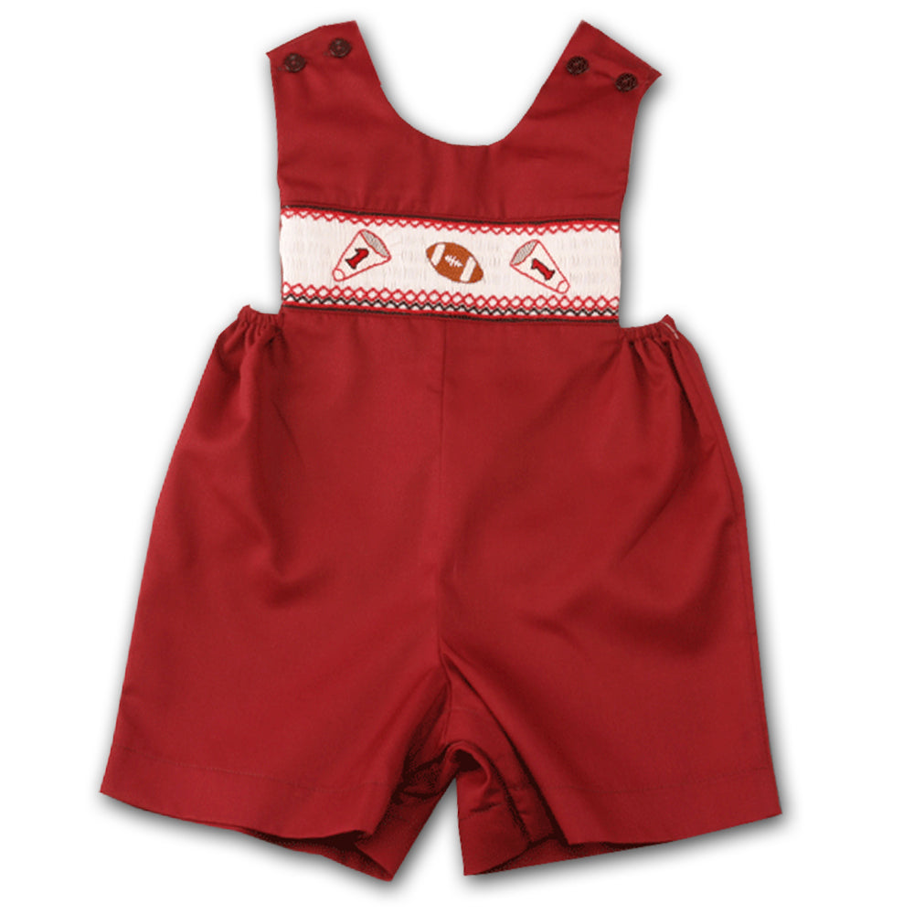 Football Maroon Smocked Romper 05F 2064 R