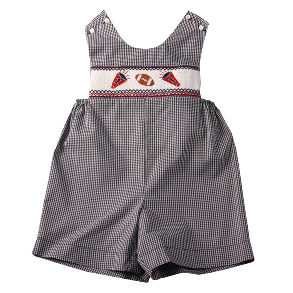 Football Cheer Navy Blue Gingham Smocked Romper 05F 2065 R