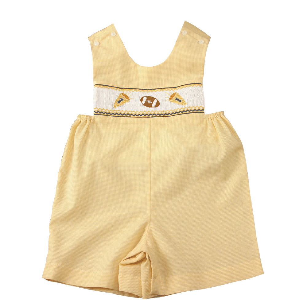 Football Yellow Gingham Smocked Romper 12F 2069 R