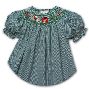 Cowboy Santa Green Gingham Smocked Bishop 06H 2106 B GR