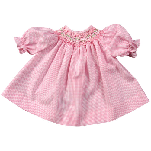 Pink Gingham Doll Bishop w/opt Bonnet AYR 2115 DD DD/DB
