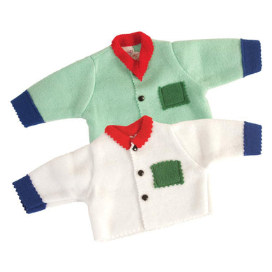 Fleece Doll Sweater Mint Green or White 18
