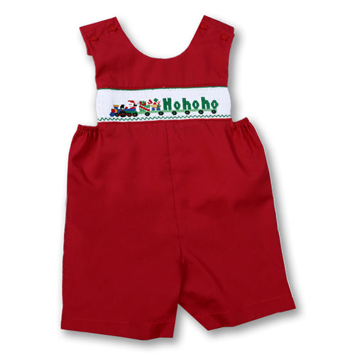 Santa HO HO HO Train Red Smocked Romper 06H 2350 R