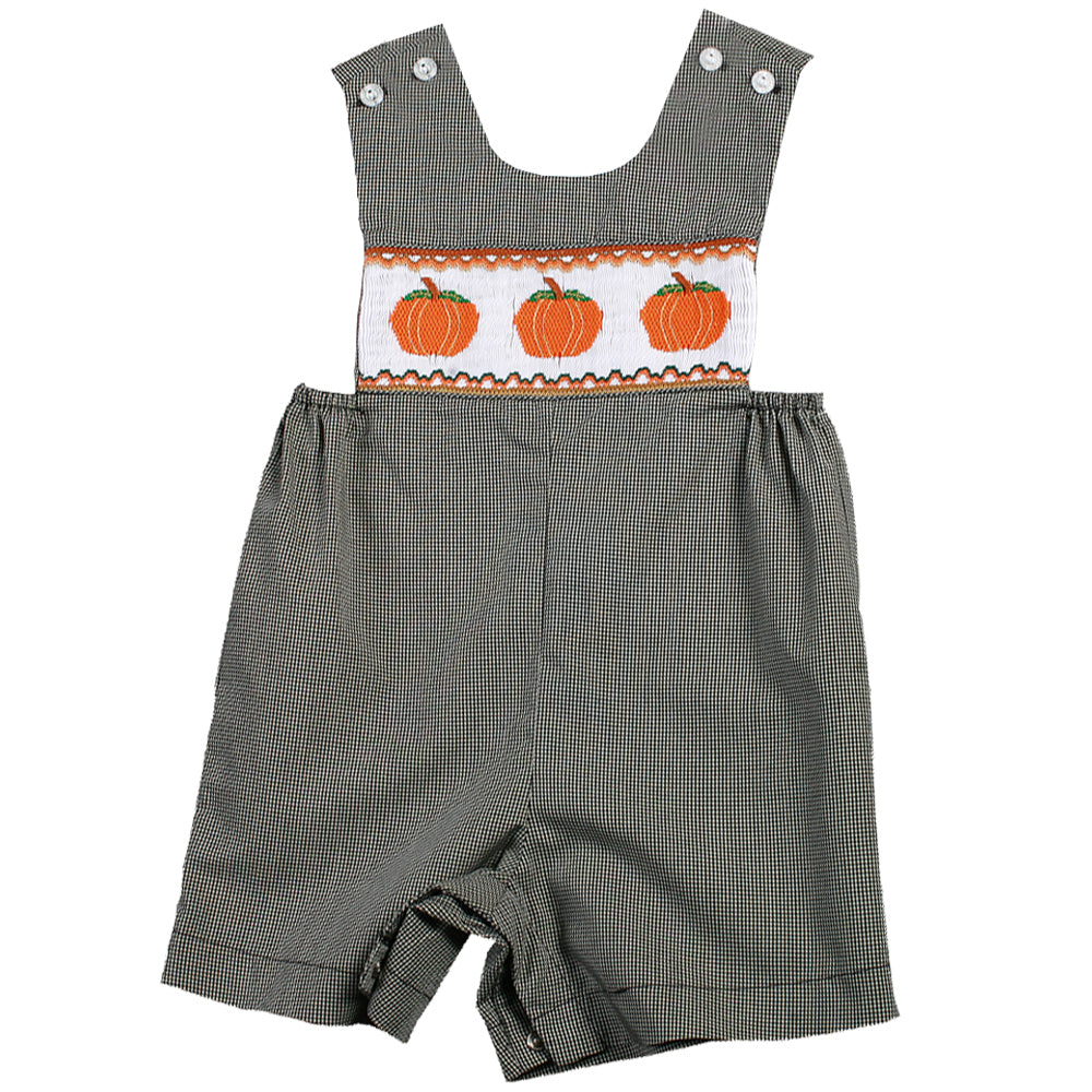 Pumpkins Black Gingham Smocked Romper 07F 2643 R
