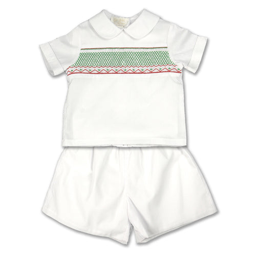 White Christmas English Smocked Short Set (Carla)