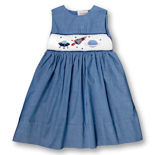 Space Adventure Blue Gingham Smocked Sundress 08SS 2697 SD