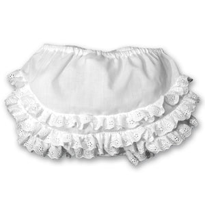 White Diaper Cover with Lace Ruffles 2738
