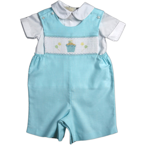 Birthday Cupcake Party Smocked Aqua Blue Romper 08SS 2746 R