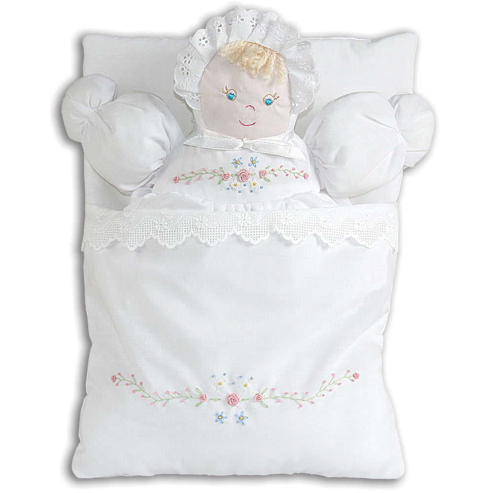 White Bunting Doll with Embroidered Flower Design 3470W