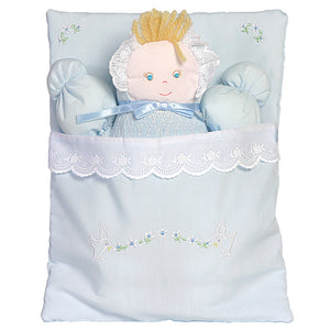 Blue Bunting Doll with Embroidered Flower Design 3471