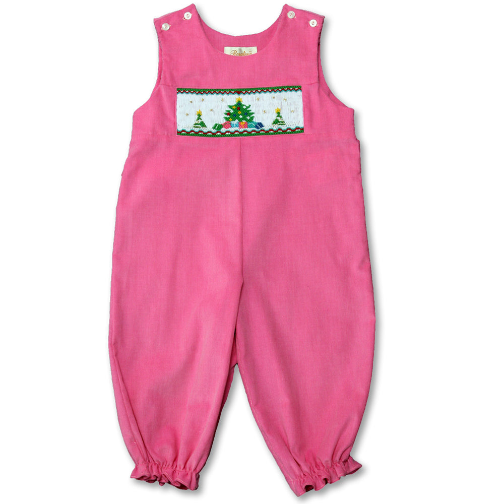 Christmas Tree Presents Pink Corduroy Smocked Knicker 10H 3476 K