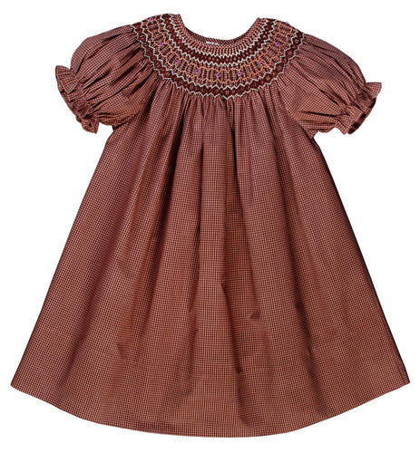 Girl Brown Gingham English Smocked Bishop 10F 3477A