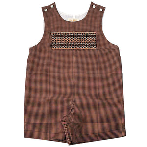 Brown Gingham English Smocked Romper 10F 3477R