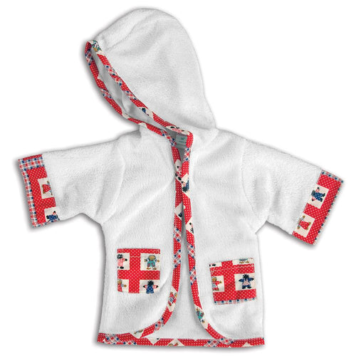 White Terry Cloth Doll Robe with Red Pattern Trim 18