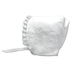 White Embroidered Beatrice Bonnet AYR 3672 BB