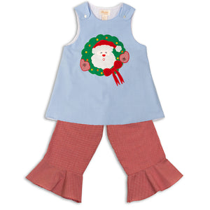 Santa Wreath Tiny Blue Gingham Aline & Reg Red Gingham Pants Set 12H 4435 B