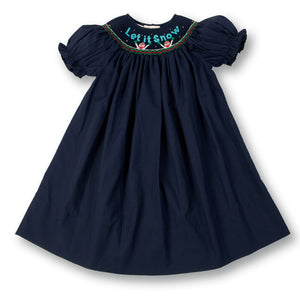 Snowmen Let It Snow Navy Blue Smocked Bishop 13H 4502 A