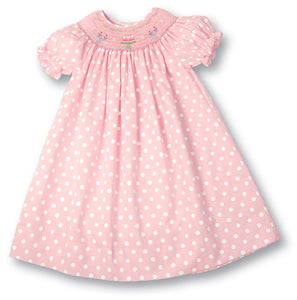 Birthday Pink Polka Dot Smocked Bishop 17SP AYR 4655 A
