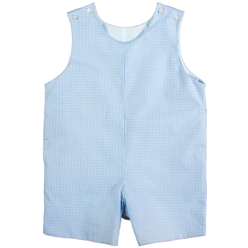 Light Blue Gingham Reversible Romper AYR 4705 R LBL