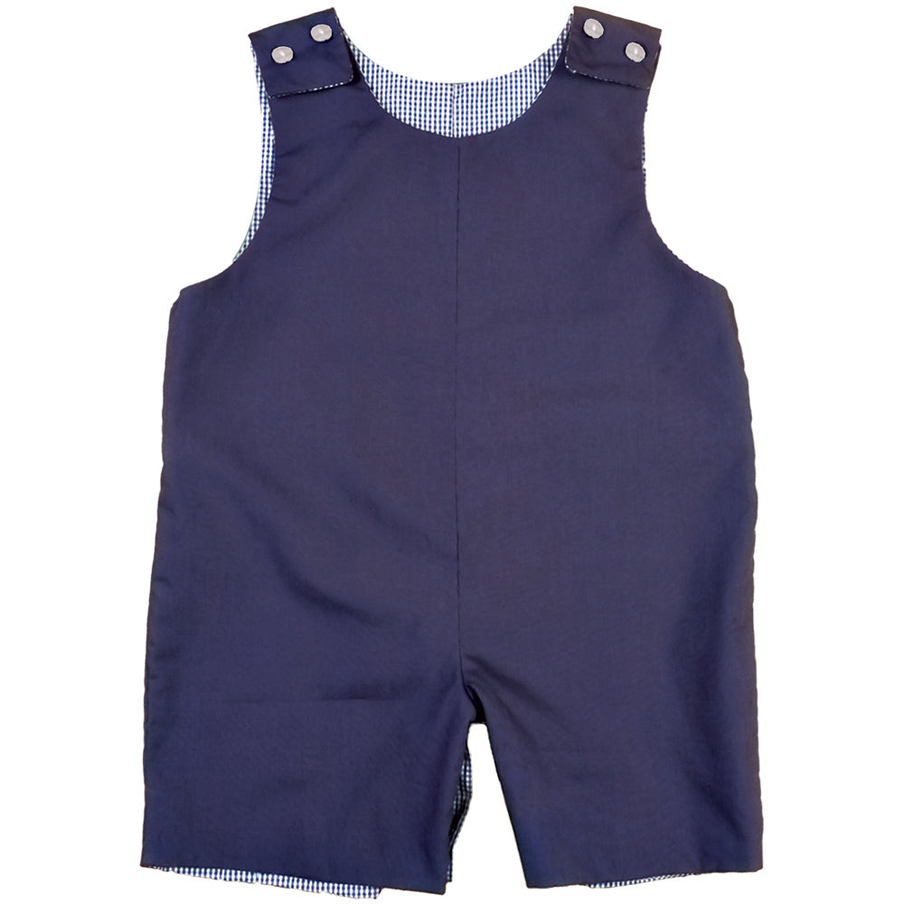 Navy Blue Reversible Gingham Romper AYR 4705 R NVY