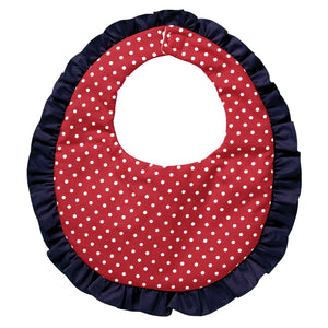 Red White Polkadot Navy Ruffled Bib 4872 BIB