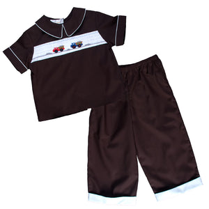 Dump Trucks Dk. Brown Smocked Shirt & Pants with Pockets 13F 4890 SP