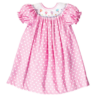 Lollipops Pink Gingham Smocked Bishop 14SP 4967 A