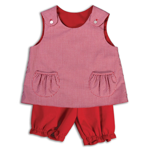 Red Gingham Reversible Blouse & Bloomers with Pockets 14F AYRD 4992 BP 1F