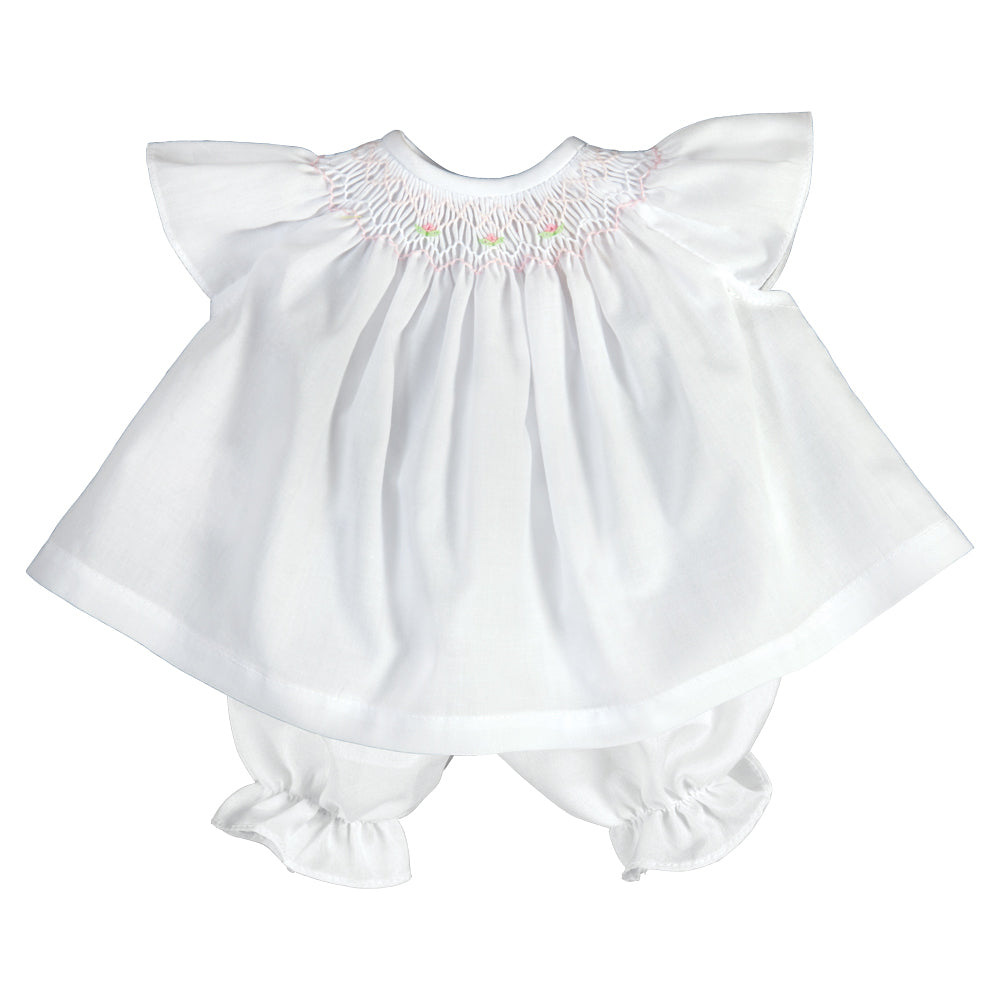 White Angel Sleeve Smocked Doll Dress AYR 5066 DD WH