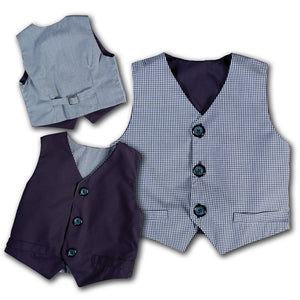 Navy Blue Gingham & Solid Reversible Vest