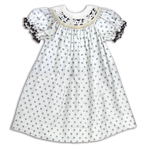 Cows White & Grey Polka Dot Smocked Bishop with RicRac 14F 5171 A