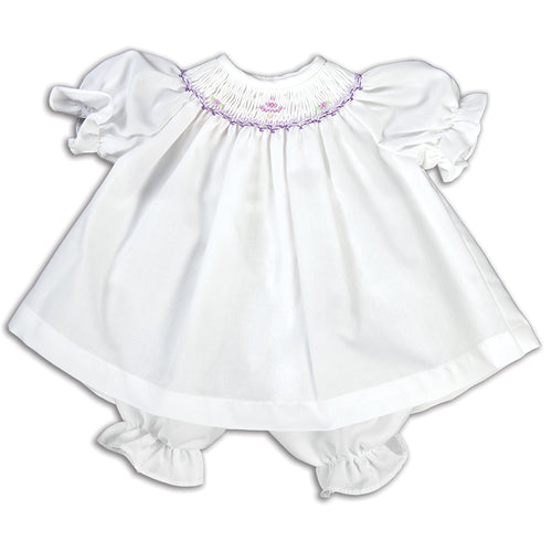 Purple Snowy Tree White Smocked Doll Dress 14H 5173 DD PU