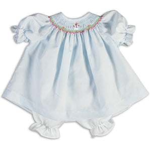 Snowman Light Blue Smocked Doll Dress 14H 5186 DD