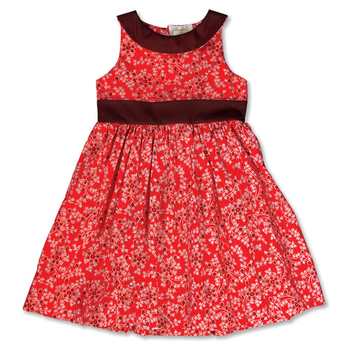 Red Floral Sundress with Brown Collar & Sash 15SU 5371 SD