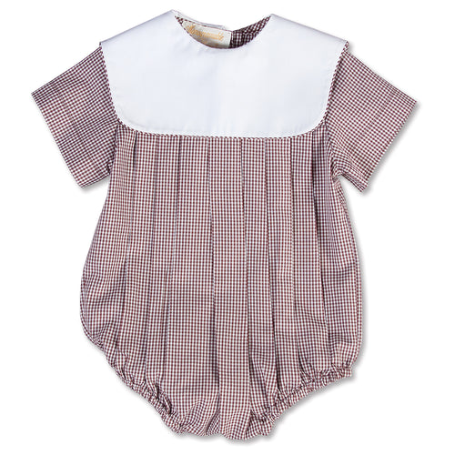 Brown Gingham Boy Bubble with Collar 15SP AYR 5374 BUB BRN
