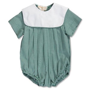 Green Gingham Boy Bubble with Collar 15SP AYR 5374 BUB GRN