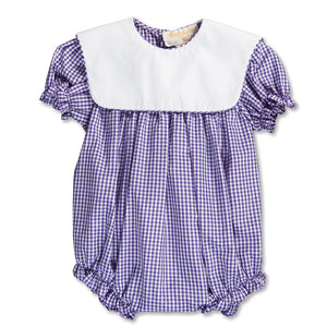 Purple Gingham Girl Bubble with Collar 15SP AYR 5374 BUG PUR