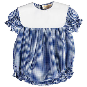 Royal Blue Gingham Girl Bubble with Collar 17 AYR 5374 BUG RBL