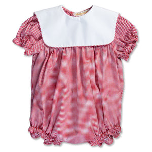 Red Gingham Girl Bubble with Collar 15SP AYR 5374 BUG RED