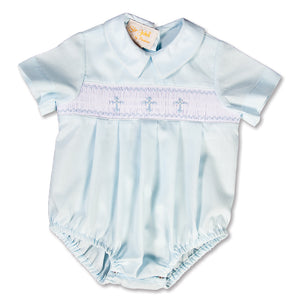 Three Crosses Light Blue Smocked Boy Bubble 15SP AYR 5471 BUB LBL