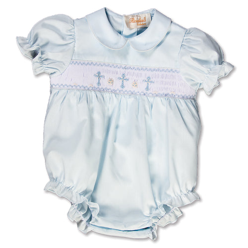 Three Crosses Light Blue Smocked Girl Bubble 15SP AYR 5471 BUG LBL