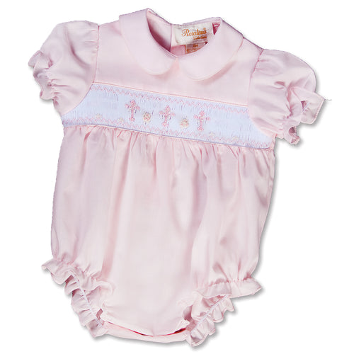 Three Crosses Light Pink Smocked Girl Bubble 15SP AYR 5471 BUG PNK