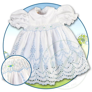 White Blue Eyelet Lace Smocked Doll Dress