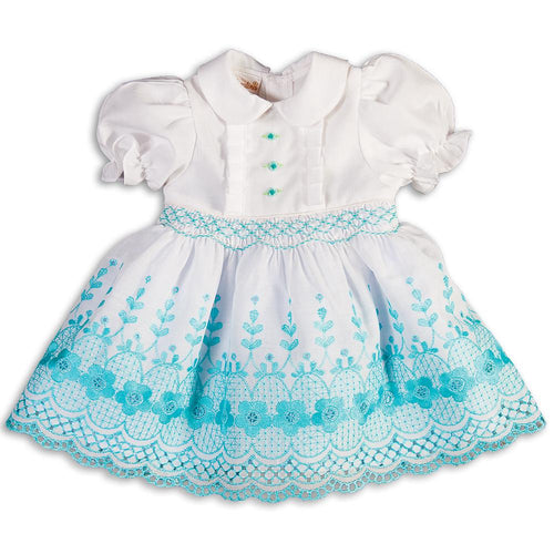 White Aqua Floral Lace Smocked Doll Dress 5511 DD AQA