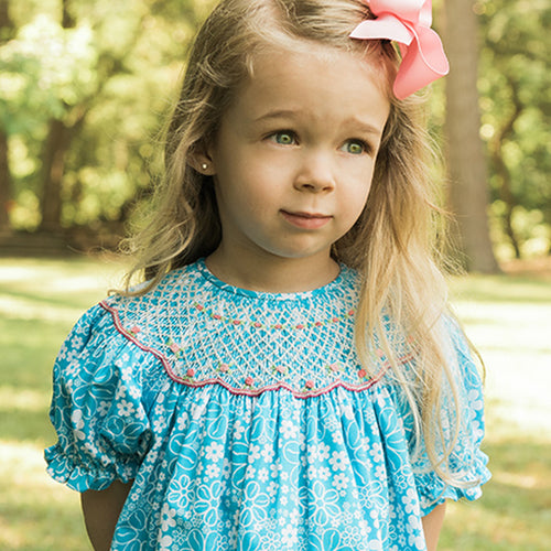 Aqua Blue Floral Smocked Bishop 16SU 5598 A