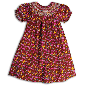 Fluttering Butterflies Brown Smocked Bishop 15F 5600 A