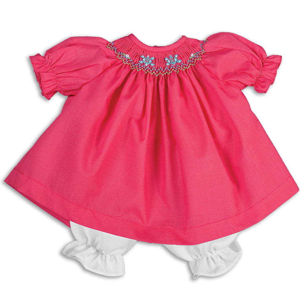 Snowflakes Fuchsia Smocked Doll Dress 15H 5653 DD