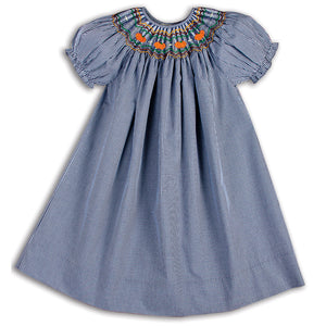 Pumpkins Navy Gingham Smocked Bishop 15F 5666 A