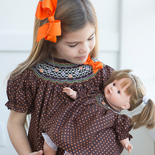 Orange Polkadot Brown English Smocked Bishop with Removable Bow 15F 5674 A